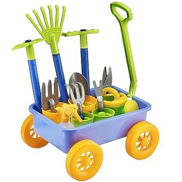 deAO Carretilla y Herramientas de Jardín para Niños y Niñas Juego de  Botánica y Jardinería Infantil Conjunto Incluye 10 Accesorios y 4 Macetas