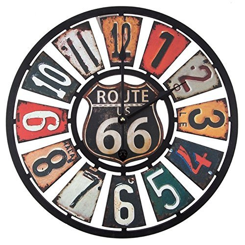 Route 66 MDF Wood Clock - Shabby Chic Route 66 Wall Clocks