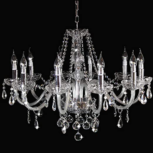 10 Light Gold Chandelier with Clear Crystal Candle Chandelier