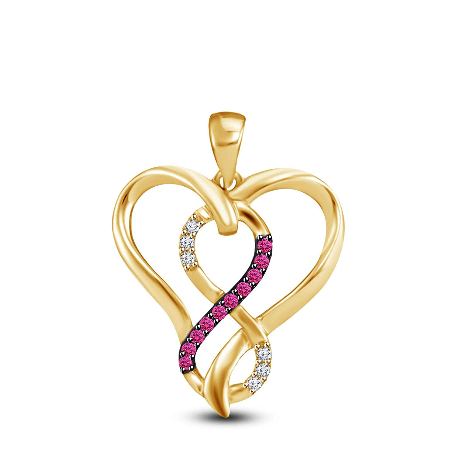AT Jewels 14K Yellow Gold Over 925 Sterling Silver Round Cut Pink Sapphire and Cubic Zirconia Infinity Heart Pendant