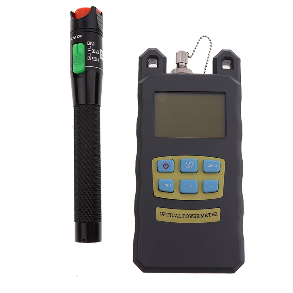 MagiDeal Optical Fiber Power Meter Tool Kit & Black 30mW Visual Fault Locator Red Light Pen with SC&FC Connector