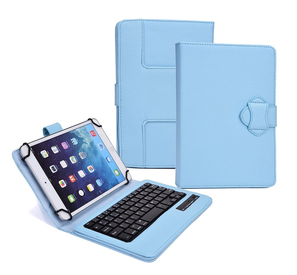 Verizon Ellipsis 10 Case with Keyboard - Tsmine Universal 2-in-1 Detachable Wireless keyboard [QWERTY] w/Folio Leather Case Stand Cover [NOT include Tablet](FIT 2017 Verizon Ellipsis 10), Light Blue