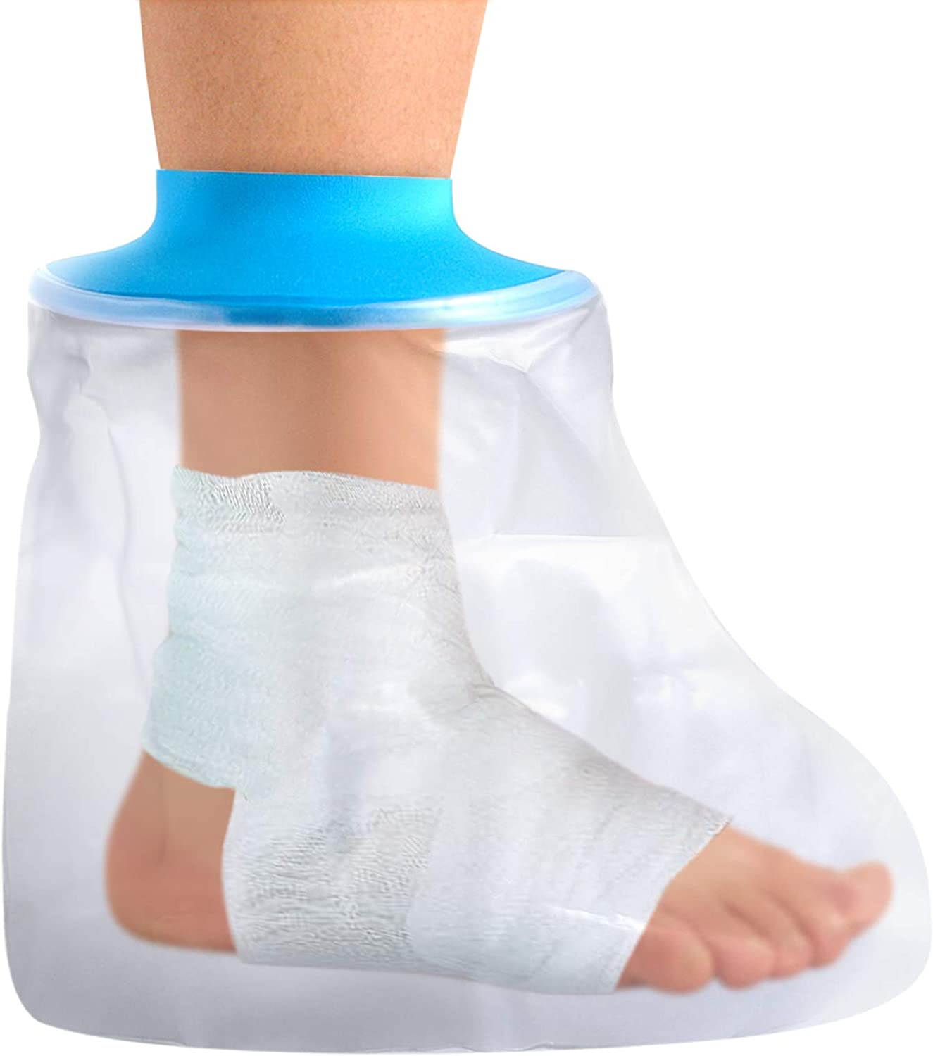 Adult Waterproof Foot Cast Cover Adult Watertight Wound Protector for Shower Bath, Keep Wounds Dry Bath Bandage Broken Foot,No Mark on Skin,Reusable Foot Cast Sleeve Bag Covers (Foot)