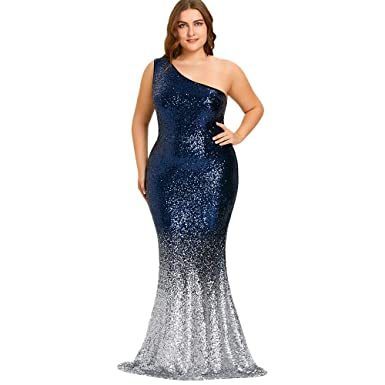 7d13e24b6c3 Image Unavailable. Image not available for. Color  One Shoulder Sleeveless  Sequined Bodycon Mermaid Hem Dress for Women Plus Size