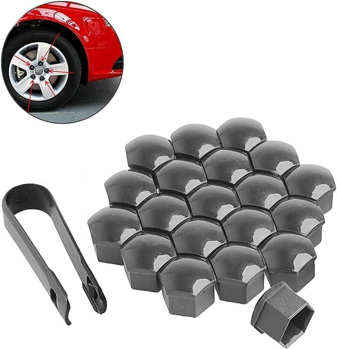Lot de 20 /écrous en plastique pour roues de voiture 17 mm avec bouchon /à visser Gris pour VW Audi