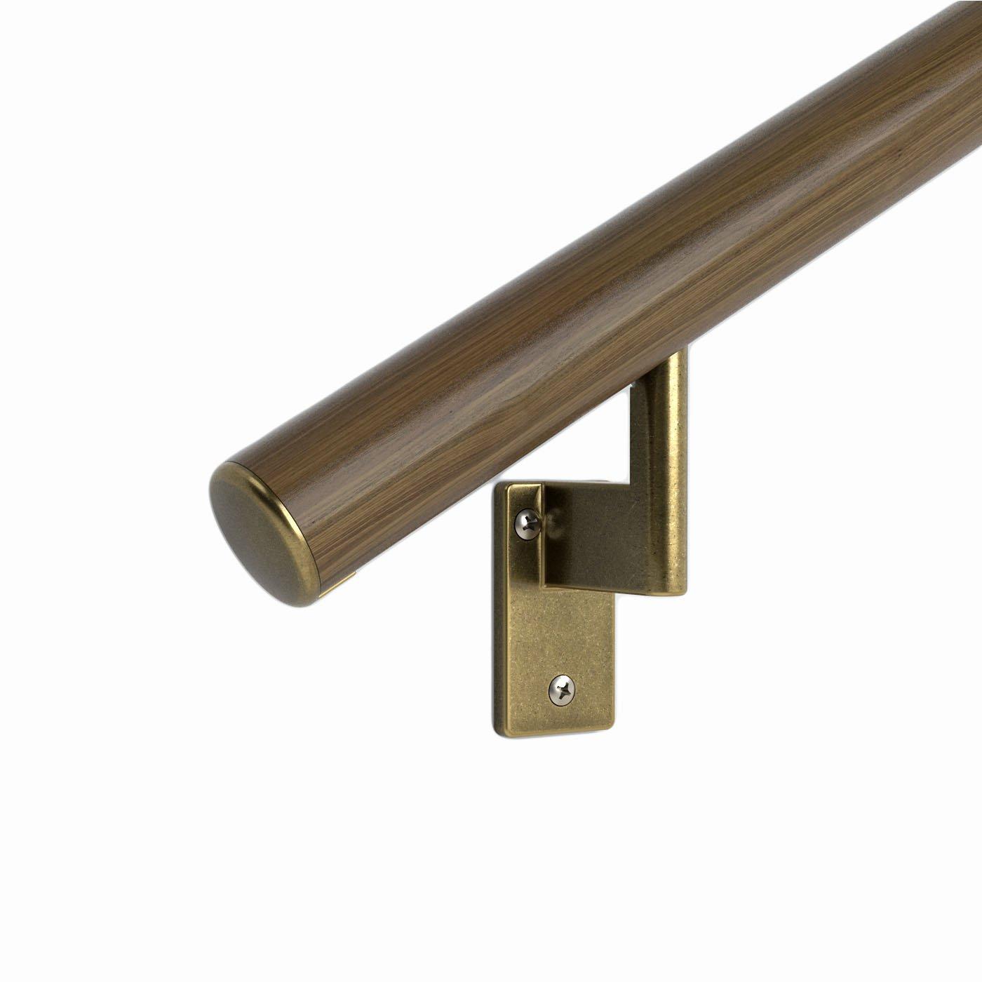 4 ft. Handrail - Complete Kit. Genuine Black Walnut Bonded to Aluminum core, 3 Antique Brass Brackets + Flush Endcaps, 1.6'' Round by PROMENAID