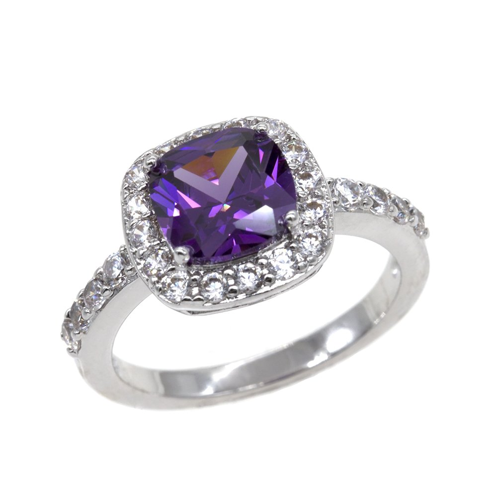 Square Rings Wedding Party Statement CZ Cocktails Gold Plated Classic Fashion Size 4-12 (Purple, 11)