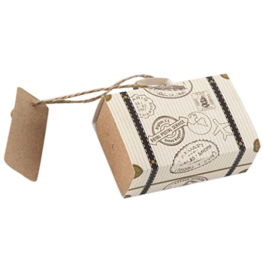 Amazon.com: Mini Suitcase Wedding Favor Candy Box Vintage Kraft Paper with Tags and Burlap Twine for Wedding Brithday Party Decoration 10pcs: Clothing