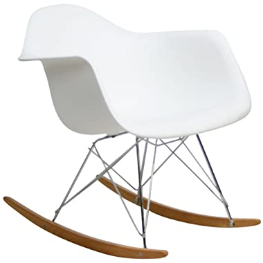 Modway Molded Plastic Accent Lounge Chair Rocker in White