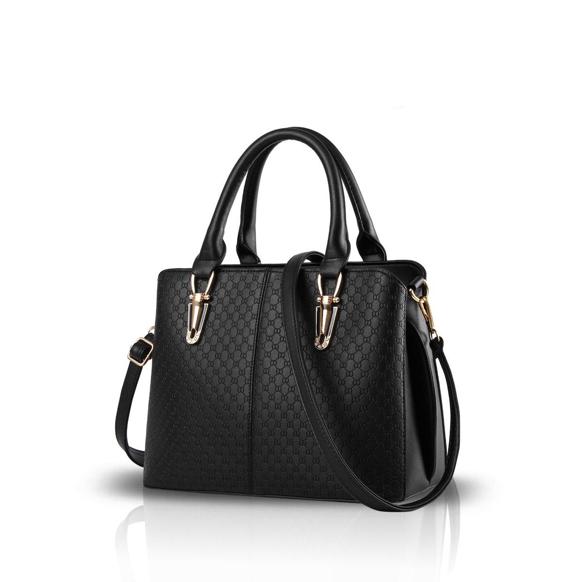 7b8b5e95da Nicole Doris fashion trend female handbag large bag retro handbags casual  shoulder bag Messenger bag for women(Black)  Handbags  Amazon.com