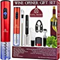 Electric Wine Bottle Opener Gift Set 8 Pieces Royal Smarts   Automatic Corkscrew Wine Opener, Air Pump Opener, Chiller Stick, Pourers, Wine Vacuum Stopper, Foil Cutter   House Warming Presents