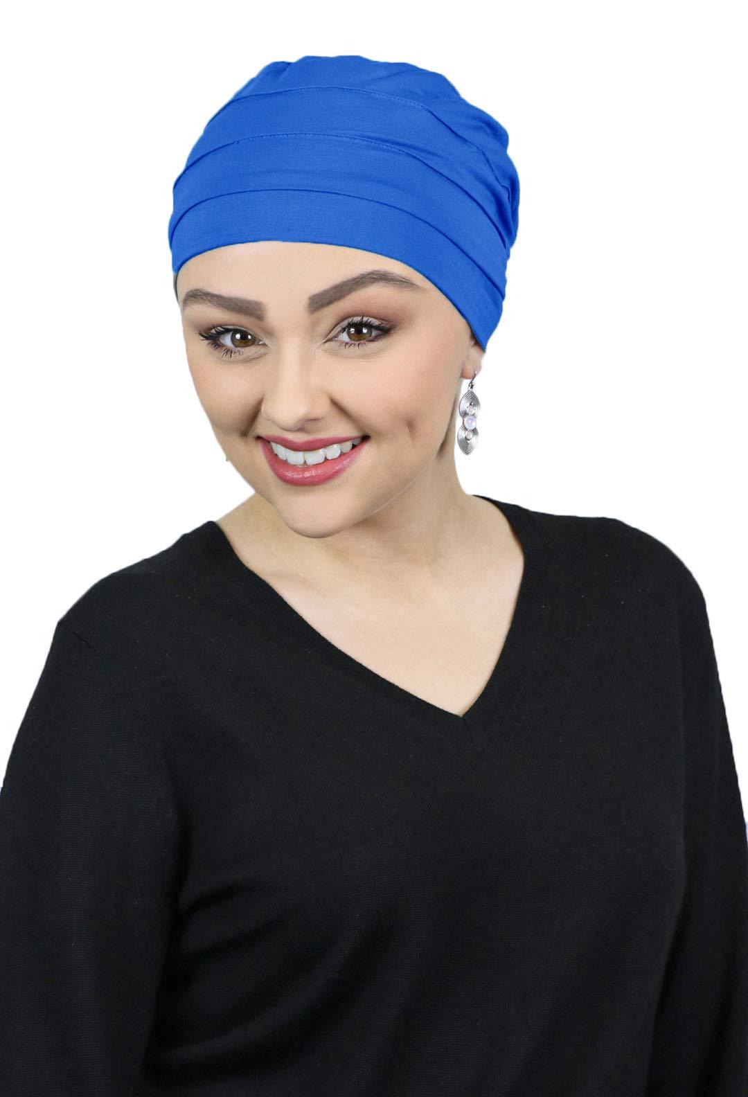 Cancer Headwear for Women Bamboo Beanie Chemo Hat Sleep Cap Head Coverings 3 Seam Turban (Royal Blue)