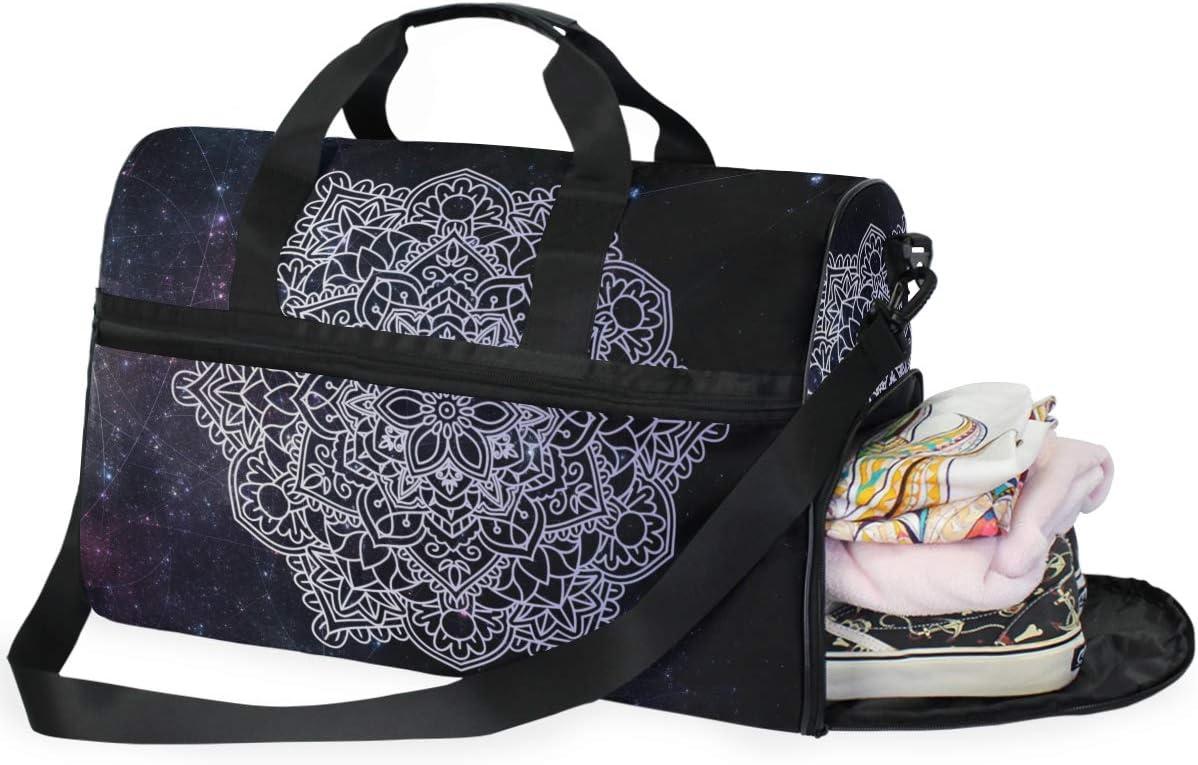 Weekender Bag with Shoes Compartment for Men Women MALPLENA Bohemian Mandala Travel Duffel Bag