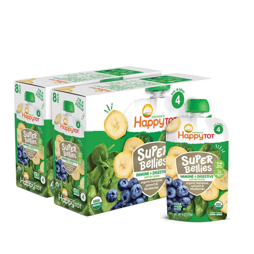 Happy Tot Organics Super Bellies Stage 4 Immune + Digestive Support Blend Organic Bananas, Spinach & Blueberries, 4 Ounce Pouch, 16 Count
