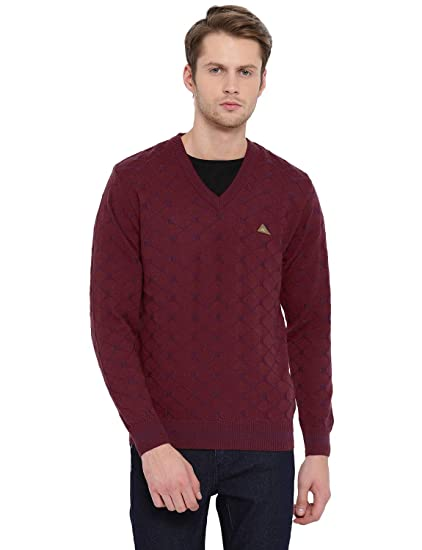 c6ece26a58f Monte Carlo Maroon Printed Pure Wool V Neck Pullover  Amazon.in  Clothing    Accessories