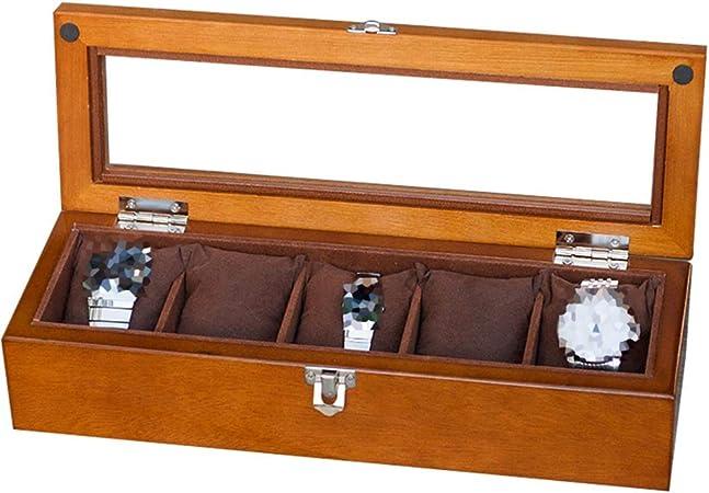 5 cuadrícula Caja de Reloj Caja de Almacenamiento de Reloj de Madera para Hombres/Mujeres con Tapa de Cristal/Cerradura Relojes de Pulsera Colección de almacenaje de exhibición de Joyas: Amazon.es: Hogar