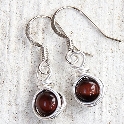 Red Tiger Eye Dangle Earrings - Handmade Semi Precious Casual Wear Jewelry
