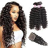 Brazilian Deep Curly Hair Bundles 16 18 20 with 14 inch Closure 3 Part Lace Closure 4×4 Lace Closure with Bundles Brazilian Deep Curly Hair with Closure Remy Human Hair Bundles with Lace Closure