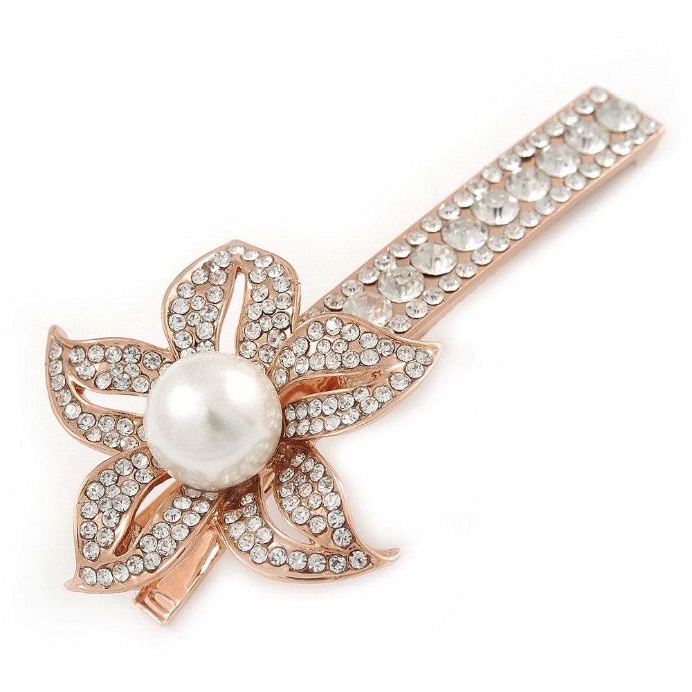 Grande Perle de verre clair, fleur de cristal Cheveux Pince bec/Concord Clip en or rose Tone–85mm L Avalaya