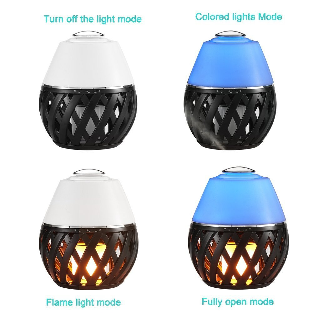 Sumaote LED Flame Lamp Aroma Diffuser, Torch Atmosphere Light With LED Flicker Yellow Dancing Light & Aroma Diffuser 150ml Humidifier Oil Diffuser with Timing Function for Spa Bedroom Babyroom by Sumaote (Image #2)