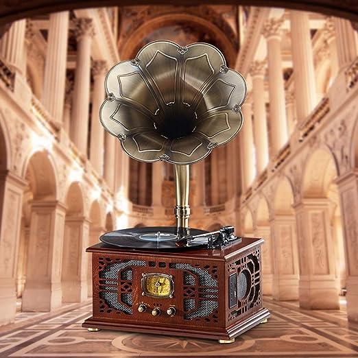 PLMO Tocadiscos del fonógrafo Vintage Vintage Multi-Función ...