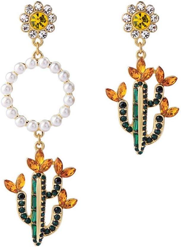 Estilo Coreano Pendiente asimétrico Perla Forma de Cactus Flor Temperamento de Las Vacaciones joyería Anillo Arte Mujer