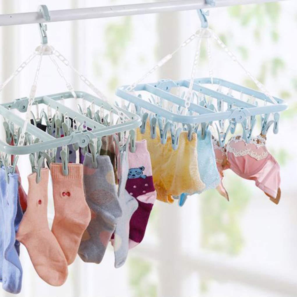 Kineca 32 Clips de la Ropa Interior PP Racks Ganchos Plegables Ropa Interior Calcetines de Toallas Tendedero Las tareas del hogar Helper Gray