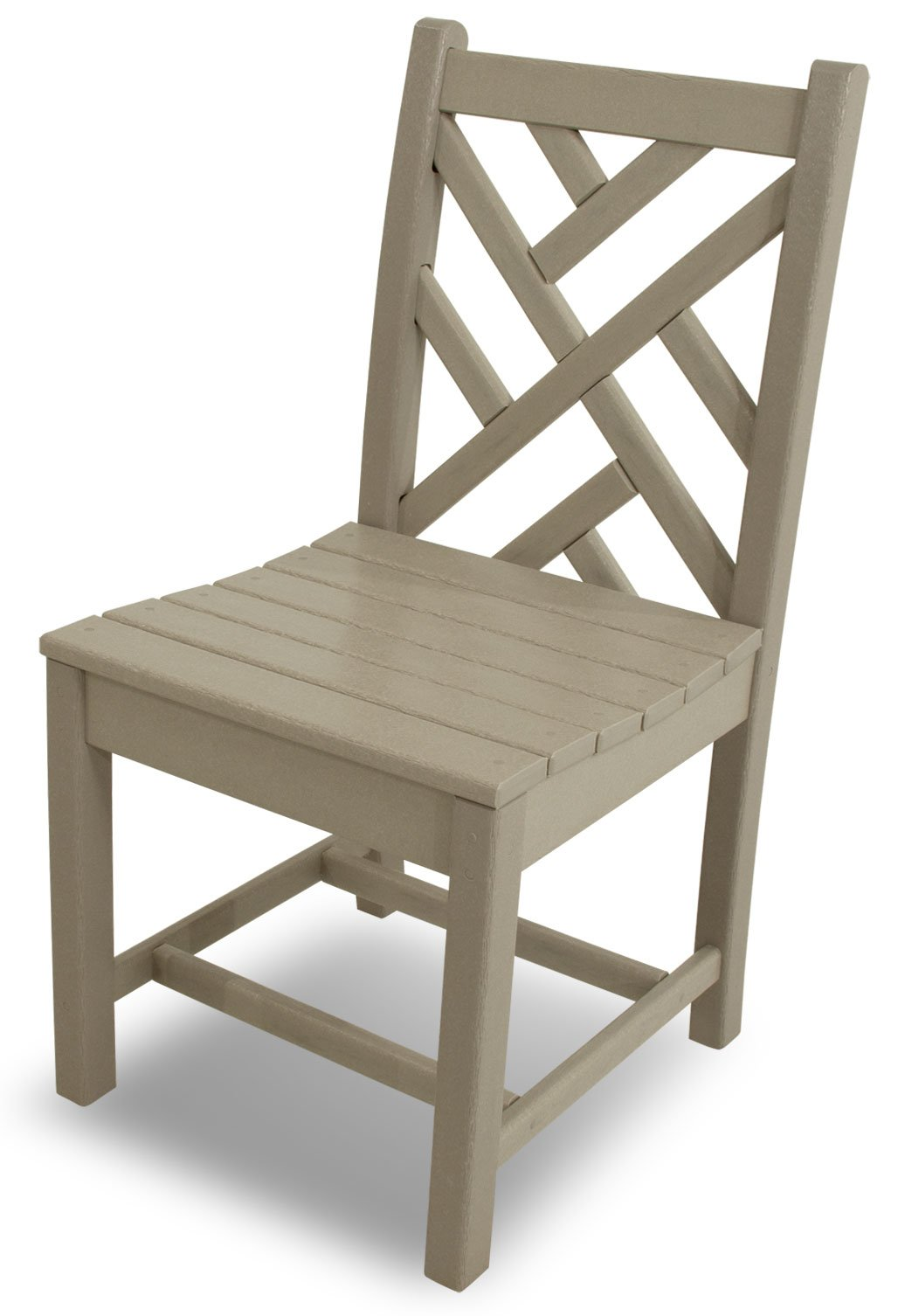 POLYWOOD CDD100SA Chippendale Dining Side Chair, Sand - Pair this elegant Chippendale dining side chair with one of the POLYWOOD traditional dining table;  is made with fade-resistant POLYWOOD recycled lumber POLYWOOD recycled HDPE lumber has the look of painted wood without the upkeep real wood requires; requires no painting, staining, or waterproofing Heavy-duty construction withstands nature's elements; will not splinter, crack, chip, peel or rot and is resistant to stains, insects, fungi, and salt spray - patio-furniture, patio-chairs, patio - 61aeS1wENSL -