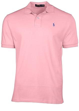 cfb90a22 Polo Ralph Lauren Mens Classic Fit Mesh Pony Shirt-Carmel Pink 7105-Small