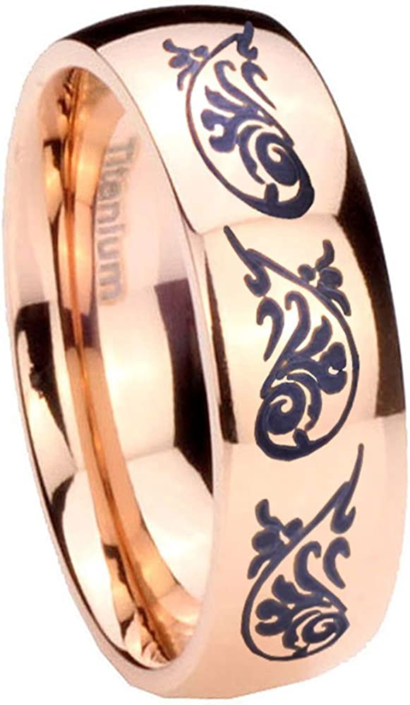 8MM Titanium Etched Design Rose Gold IP Dome Engraved Ring Size 7 to 13