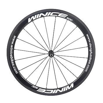 winicebikes 700 C 50 mm de fibra de carbono rueda delantera 700 C clincher ciclismo rueda para bicicleta de carretera para bicicleta, Negro: Amazon.es: ...