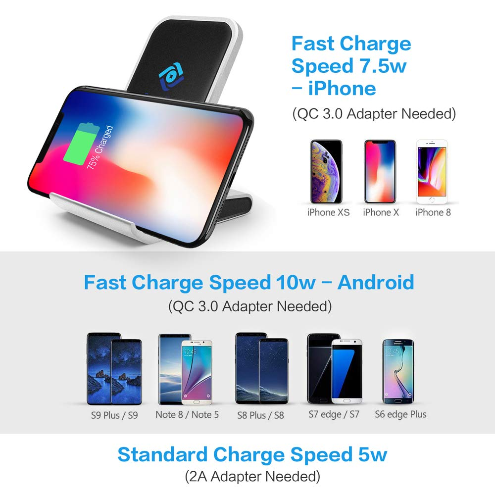 Compatible with 10W Charge Samsung S9//S8 Note 8//9 7.5W iPhone X//Xs//Xs Max//8 /& Qi Enabled Phones Fortune Nexus Automatic Phone Holder Air Vent Mount Black Fast Wireless Car Charger Infrared Sensor