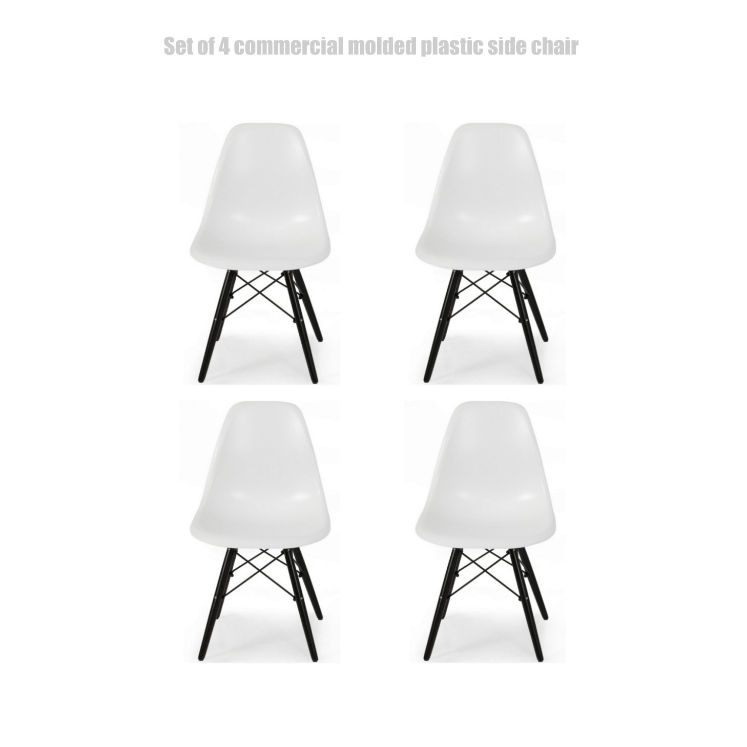 Classic Vintage Style Dining Chair Molded Plastic Flexible Backs Support Deep Seat Pockets Straight Wooden Dowel Legs Innovative Side Chair - Set of 4 White/Black Wood Base #1444z