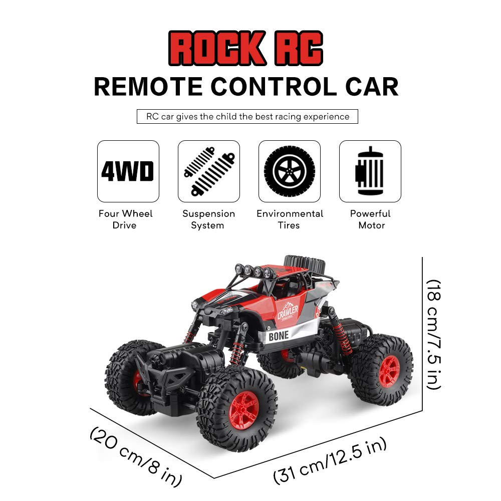 Gizmovine RC Cars 4WD Rock Crawler Large Size Boys Remote Control Cars and Trucks 2.4Ghz Transformer Toy Electronic Monster Truck R/C Off Road for Kids, 2019 Update Version (Red) by Gizmovine (Image #4)