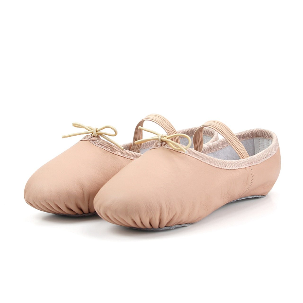 DANCE YOU 1102-1 Girls Ballet Slipper Leather Full Sole Ballet Shoes for Toddler/Little Kid Pink Size Big Kid 3.5M/220mm