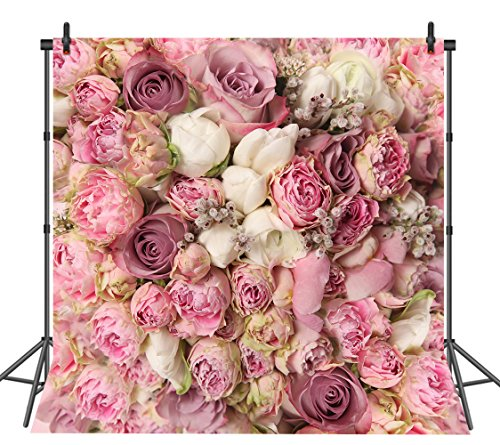 Sensfun 8x8 FT Rose Floral Wall Portraits Photography Backdrop Wedding Decoration Silk Fabric Studio Pink Flowers Wall Photo Booth Prop Photography Background