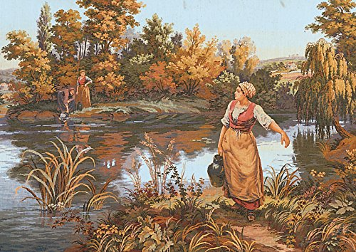 Needlepoint Canvas Tapestry - Collection D'Art Needlepoint Painted Canvas Tapestry Gobelin - The Water Carrier. 24