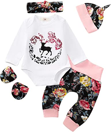 KaiCran Clothing Baby Girl Romper,Toddler Baby Girls Long Sleeve Christmas Deer Striped Romper Jumpsuit Outfits