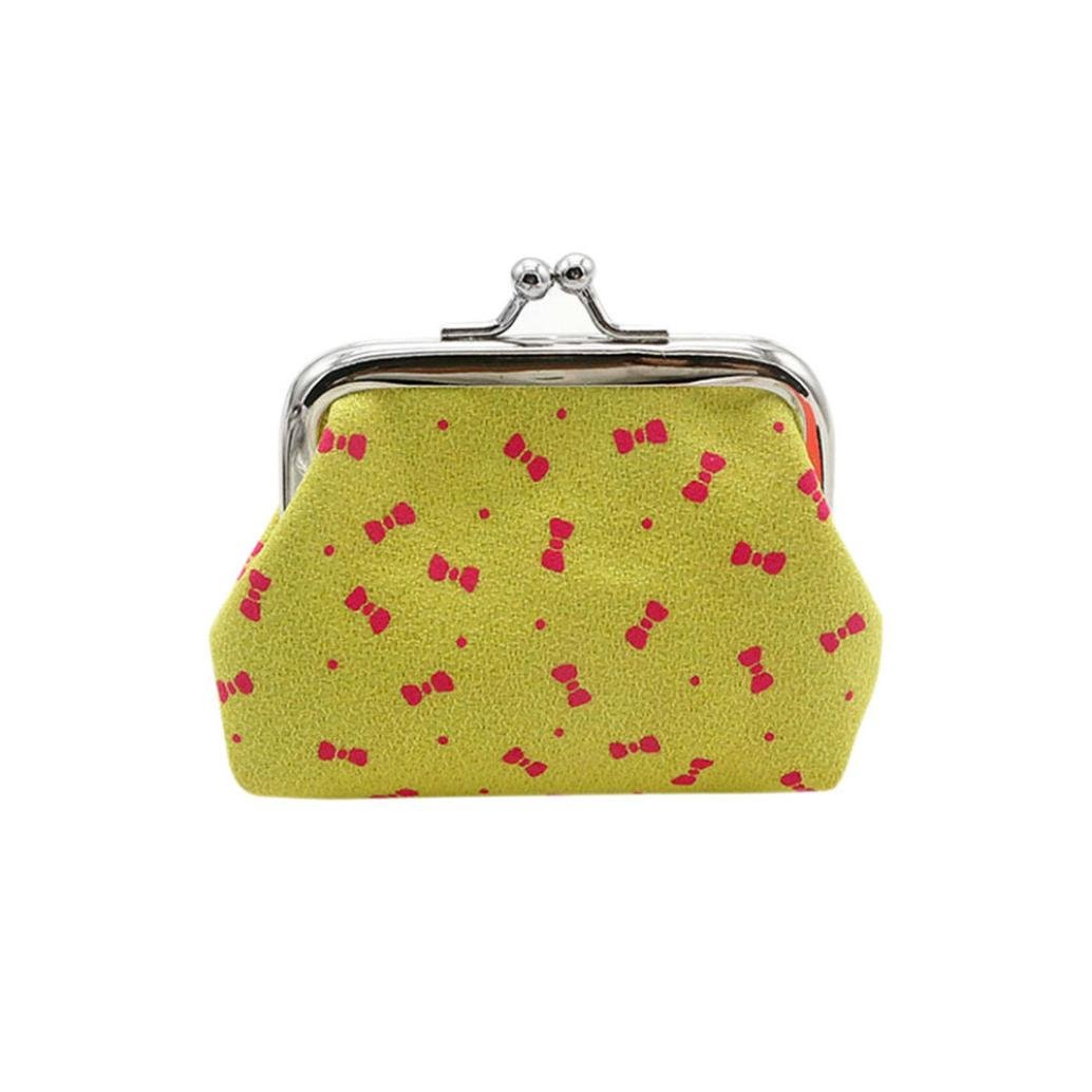 Coin Purse,Bowknot Pattern Buckle Clutch Pouch Small Wallet Tote Handbag Duseedik (Yellow)
