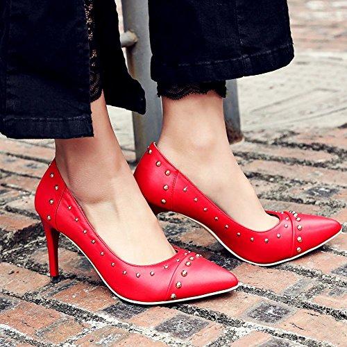 Mee Shoes Damen spitz mit Nieten Geschlossen Pumps Rot