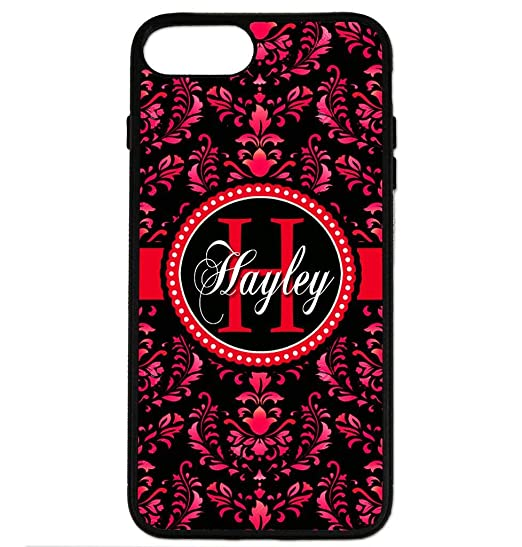 promo code 01896 9276e iPhone 8 Plus Case, iPhone 7 Plus Case, ArtsyCase Black Red Damask Monogram  Personalized Name Phone Case for iPhone 7 Plus and iPhone 8 Plus (Black)
