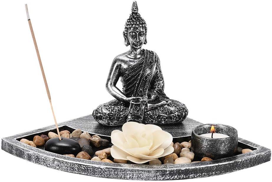 IZSUZEE Buddha Candelabro, Jardín Zen Tablero Buddha 10.5x13.5cm con Portavelas, Quemador de Incienso Candelabro para Decoración del Hogar, Buda Decoracion Regalo Meditación Relájese Interiores