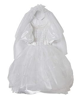 VERTBAUDET Disfraz de Novia Blanco Fuerte Liso con Motivos 3/4A ...