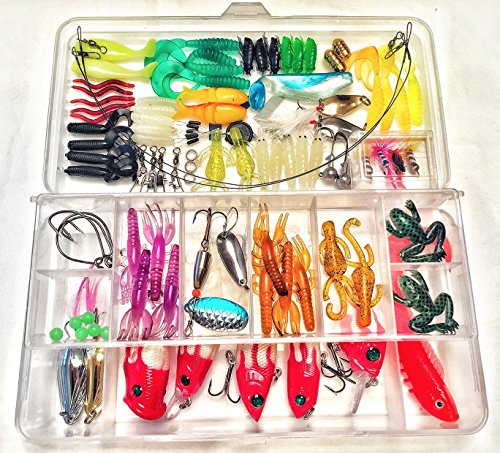 [Fishing Lure Set Kit Lots With Dual Layer Tackle Box For Saltwater or Freshwater Fishing 100 Piece Set Including: Crankbaits, Spoons, Poppers, Fishing Hooks, Topwater Lures, Worms, And MORE] (Fish Hula Popper)