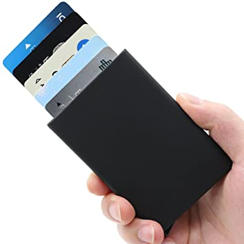 Business card case credit card holder ejector wallet with aluminum business card case credit card holder ejector wallet with aluminum blocking money clip black by reheart Gallery