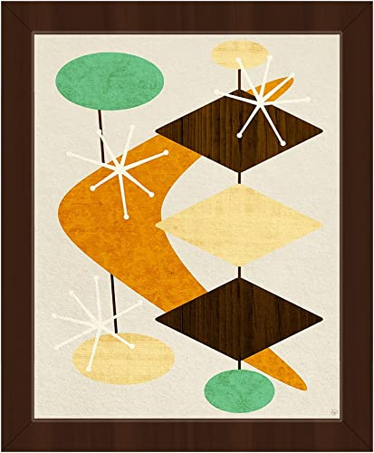 Bang Bang Boomerang Orange: Mid-Century Retro Modern Postmodern Geometric Shapes Abstract Painting Drawing Illustration Wall Art Print on Canva