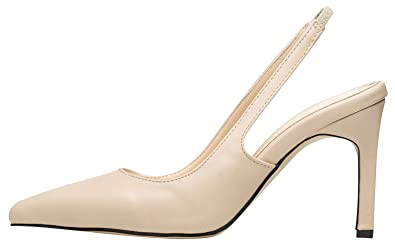bf9c804bd29 AnnaKastle Womens Classic Stiletto Heel Slingback Pumps Dress Shoes Beige