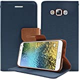 DMG Stand View Wallet Flip Cover Case with Card Slots for Samsung Galaxy E5 (2015 Edition) - Pebble Blue