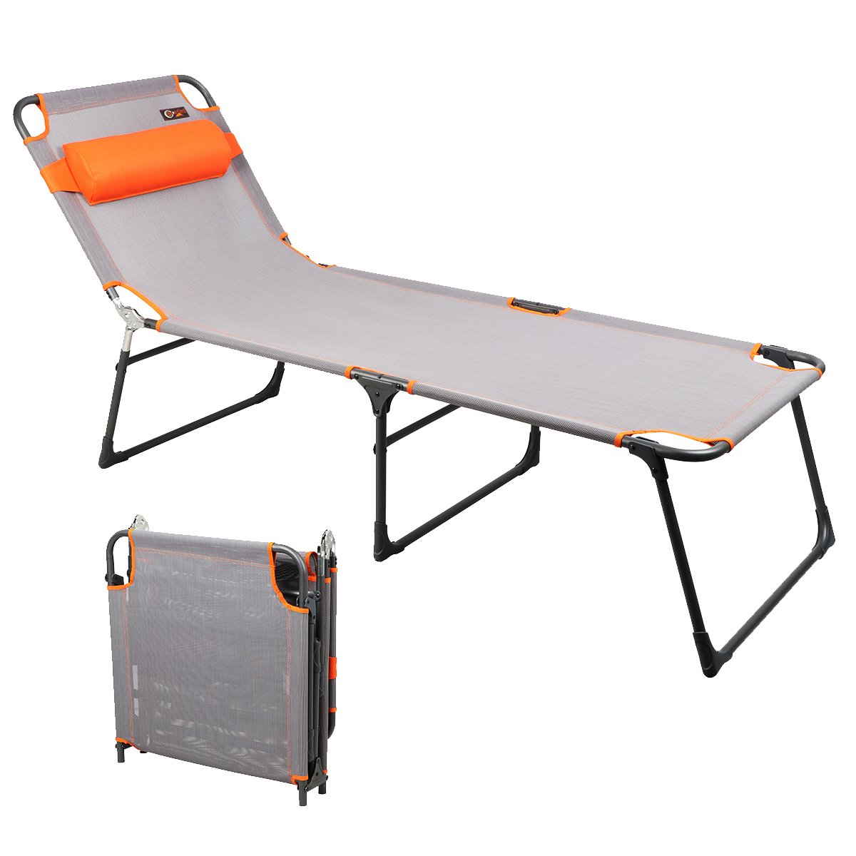 PORTAL Adjustable Folding Reclining Lounger Beach Bed Cot, Grey