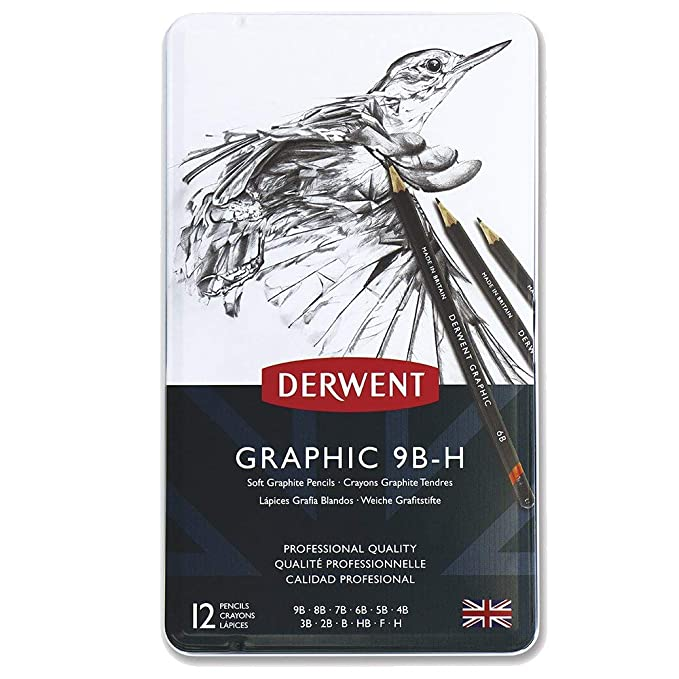 Black /&2301930 Twin Hole Pencil Sharpener Derwent 34215 Graphic Soft Graphite Drawing Pencils 34215 Set of 12 Grey Manual Professional Quality